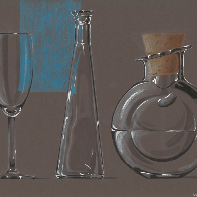 Shading different glass objects