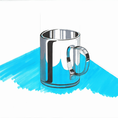 Shading a chrome mug
